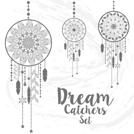 dream catcher with sample text. vector illustration Çizim