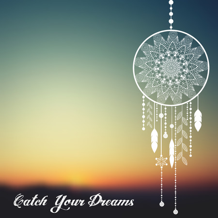 dream catcher on sunset blurred mesh background with sample text. vector illustration
