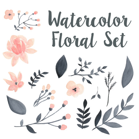 Vector pastel watercolor floral set with flovers and foliage