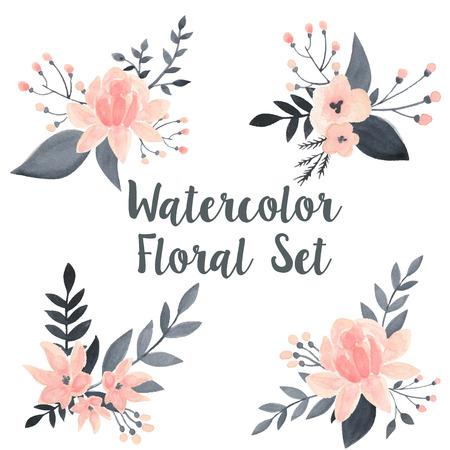 Watercolor floral vector set with flowers and branch 版權商用圖片 - 41993005