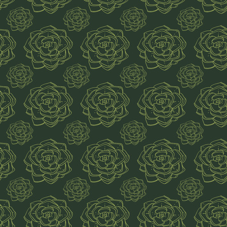 Succulents and cactus vector handpainted seamless pattern Фото со стока - 43537989