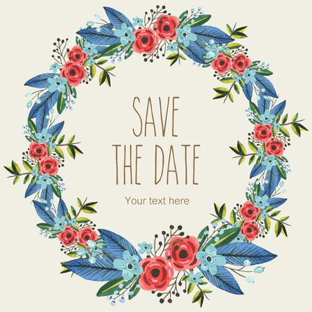 Vector watercolor decorative wreath invitation