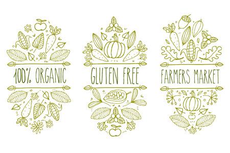 farmer market: Organic food, gluten free, farmer market menu logo. Hand drawn vector sketch typographic element. Nature product label. Leaf, corn, carrot, cacao, cocoa, apple, pumpkin, floral, acorn. Illustration