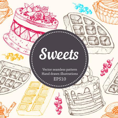 dessert: Vectorhand drawing dessert bakery illustration. Sweet food sketch seamless pattern Illustration