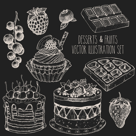 fruit cake: Dessert fruit sweet set. Cake, cupcake, waffle, strawberry, raspberry, blueberry, currant. Sketch vector hand drawn illustration. Illustration