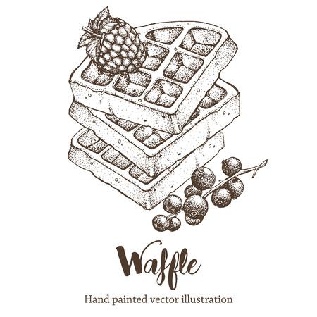 Waffle sweet hand drawing vector sketch illustration 矢量图像