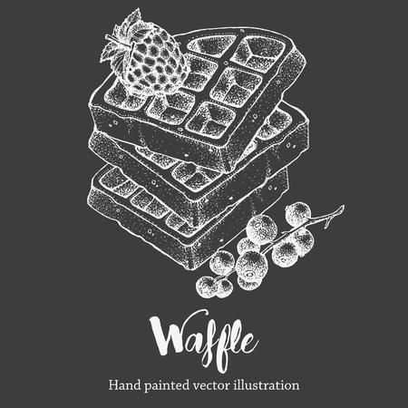 Waffle sweet hand drawing vector sketch illustration on chalkboard Illustration