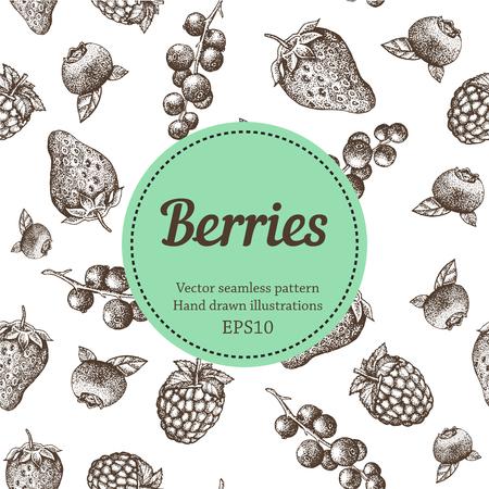 bilberry: Berry, strawberry, blackberry, currant, raspberry, hand drawn seamless vector pattern. Nature organic illustration. Illustration