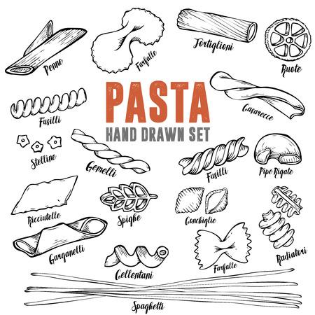 イタリアのパスタのセット。パスタの種類のコレクション。レトロなライン アート イラスト。