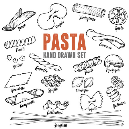 raw: Italian pasta set. Collection of different types of pasta. Retro line art illustration.