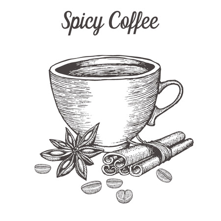 caffeine: Coffee cup with spice, bean, cinnamon, star anise. Natural organic caffeine drink. illustration on white background. Illustration