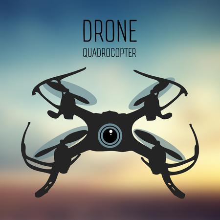 Drone quadrocopter. Hommel met actiecamera vooraanzicht vector geïsoleerd teken. Drone-embleem, embleem en ontwerpelement. winkel, reparatie & service.