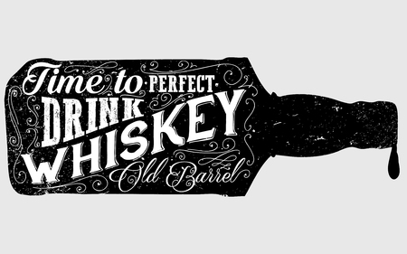 whisky bottle: Whiskey bottle retro old vintage design illustration. Chalkboard poster typographic grunge label vector. Handwritten time to drink. Black bottle.