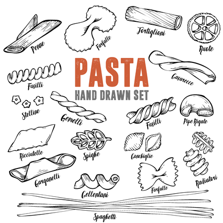 Hand drawn Italian pasta set. Collection of different types of pasta. Retro line art vector illustration.