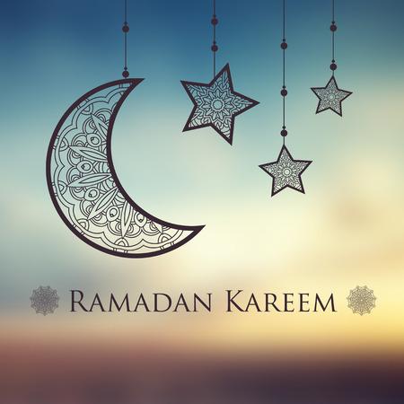 赖买丹月kareem背景与装饰月亮和星。贺卡,邀请穆斯林社区圣洁月弄脏。矢量图
