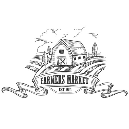 Farmers market badge. Monochrome medieval farm vintage engraving sign isolated on white background. Sketch vector hand drawn illustration.