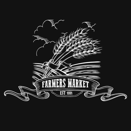 Farmers market badge. Monochrome vintage engraving fresh organic bread, ear, spica  sign isolated on black background. Sketch vector hand drawn illustration.
