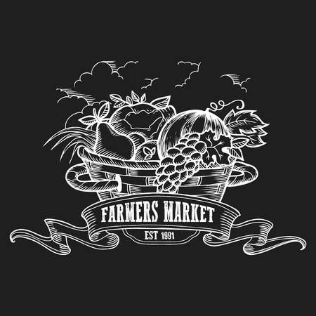 Farmers market badge. Monochrome vintage engraving fresh organic vegetables and fruits sign isolated on black background. Sketch vector hand drawn illustration.