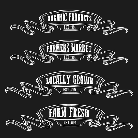 Farmers market emblem ribbon. Monochrome medieval set vintage engraving sign isolated on black background. Sketch vector hand drawn illustration. Locally grown, fresh food retro style.