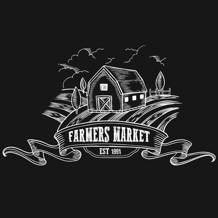 farmers market: Farmers market badge. Monochrome medieval farm vintage engraving sign isolated on black background. Sketch vector hand drawn illustration. Illustration