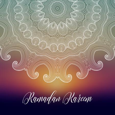 Ramadan Kareem background with ornamental mandala.  Greeting card, invitation for muslim community holy month on blurred. Vector oriental illustration