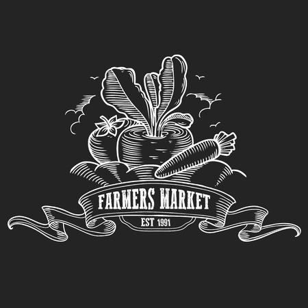 Farmers market badge. Monochrome vintage engraving fresh organic vegetables sign isolated on black background. Sketch vector hand drawn illustration. 向量圖像