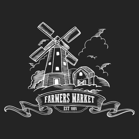 Farmers market badge. Monochrome medieval farm windmill vintage engraving sign isolated on black background. Sketch vector hand drawn illustration. 向量圖像