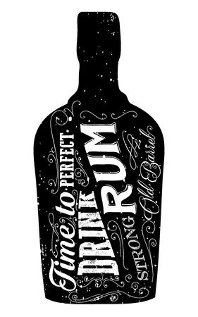 rum: Rum bottle retro old vintage design illustration. Chalkboard rum poster typographic grunge label vector. Handwritten time to drink. Black rum bottle.