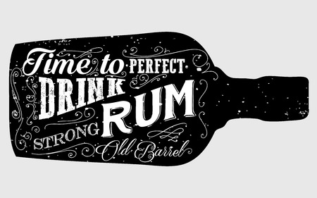 Rum bottle retro old vintage design illustration. Chalkboard rum poster typographic grunge label vector. Handwritten time to drink. Black rum bottle.