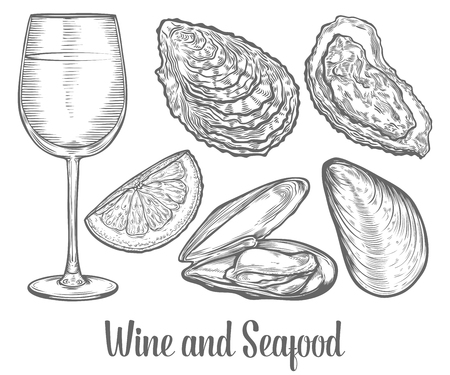 Oysters, mussels, wine grape, lemon, seafood marine animals sketch vector illustration. Clam scallop hand drawn engraved etch ink cartoon illustration. Marine food. Healthy seafood. Organic product.