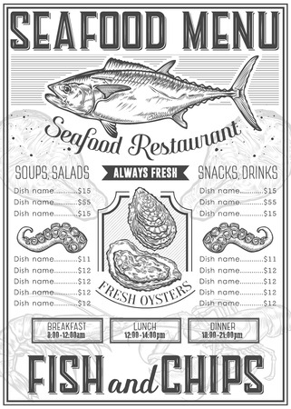 Seafood background restaurant menu with traditional dish. meal. Sea food hand drawn engraved vector illustration, oyster, octopus, tuna, salmon, fish. Retro vintage label ocean seafood elements.