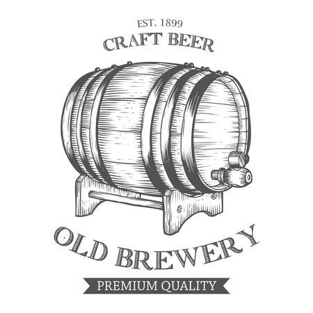 barrel: Wooden craft beer, oktoberfest, old brewery alcohol barrel. Black and white vintage engraved hand drawn vector illustration. Craft container sketch
