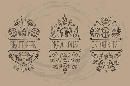 brew house: Beer, craft brew house sketch doodle collection, vector hand drawn label elements. barrel, mug, wheat, hop plant, bottle, leaf, sausage, pretzel. Oktoberfest traditional food and attributes. Craft paper background