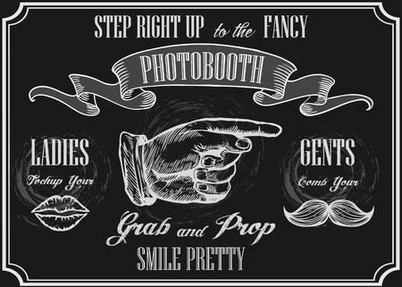 Photobooth wijzer teken. Vector photo booth rekwisieten. Foto Automat Pointer. Photobooth bord met gravure hand met snorren en lippen. Bordachtergrond.