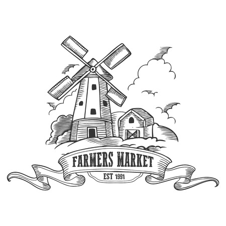 farmers market: Farmers market badge. Monochrome medieval farm windmill vintage engraving sign isolated on white background. Sketch vector hand drawn illustration. Illustration