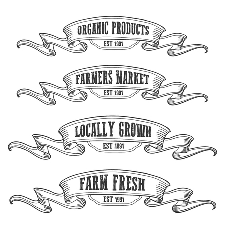 Farmers market emblem ribbon. Monochrome medieval set vintage engraving sign isolated on white background. Sketch vector hand drawn illustration. Locally grown, fresh food retro style.