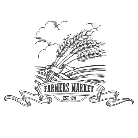 Farmers market badge. Monochrome vintage engraving fresh organic bread, ear, spica  sign isolated on white background. Sketch vector hand drawn illustration.