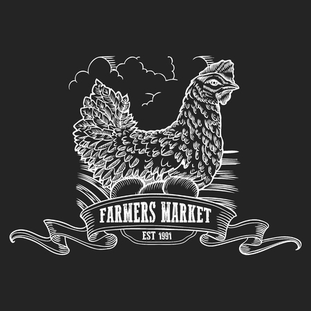 Farmers market badge. Monochrome vintage engraving hen, chicken with  fresh organic eggs sign isolated on black background. Sketch vector hand drawn illustration.