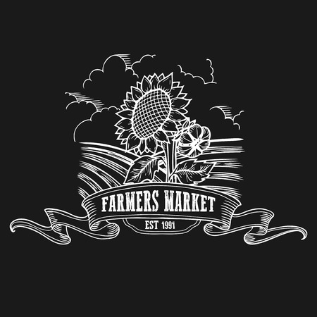 Farmers market badge. Monochrome vintage engraving fresh organic sunflower sign isolated on black background. Sketch vector hand drawn illustration.