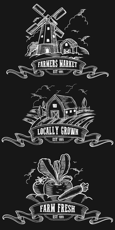 Farmers market badges. Monochrome medieval set vintage engraving sign isolated on black background. Sketch vector hand drawn illustration. Locally grown, fresh food retro doodles.