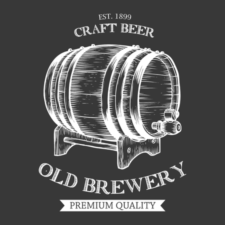 Wooden craft beer, oktoberfest, old brewery alcohol barrel. Black and white vintage engraved hand drawn vector illustration. Craft container sketch