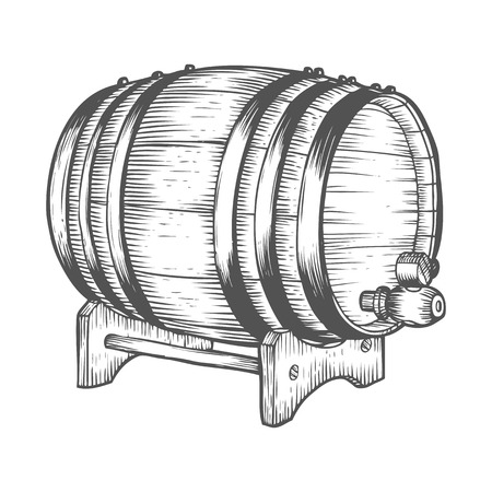 Wooden craft beer, whiskey, alcohol barrel. Black and white vintage engraved hand drawn vector illustration. Craft container sketch