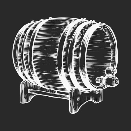 Wooden barrel. Black and white vintage engraving vector illustration.
