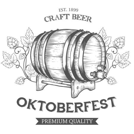 Wooden craft beer, oktoberfest, alcohol barrel, hop branch plant. Black and white vintage engraved hand drawn vector illustration. Craft container sketch Иллюстрация