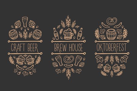 Beer, craft brew house sketch doodle collection, vector hand drawn label elements. barrel, mug, wheat, hop plant, bottle, leaf, sausage, pretzel. Oktoberfest traditional food and attributes. Black background
