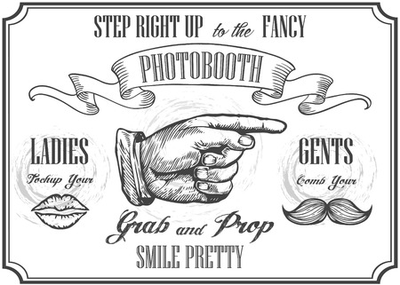 automat: Photobooth pointer sign. Vector photo booth props. Photo Automat Pointer. Photobooth sign with engraving hand with moustaches and lips. White background. Illustration