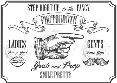 Photobooth wijzer teken. Vector photo booth rekwisieten. Foto Automat Pointer. Photobooth bord met gravure hand met snorren en lippen. Witte achtergrond.