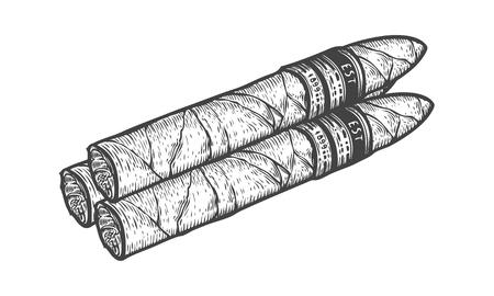 Sigaar tabak de hand getrokken retro vintage gegraveerde illustratie. Tabak en roken embleem. Classical traditionele product. Zwart op een witte achtergrond.
