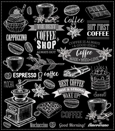 Set Of Vintage Retro Coffee Labels On Chalkboard . Coffee decoration collection | Set of calligraphic and typographic elements styled design, frames, vintage labels. Vector.