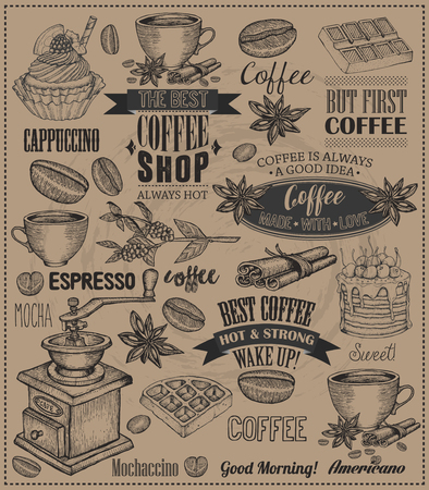 Set Of Vintage Retro Coffee Labels. Dessert cake, cupcake, chocolate decoration collection of calligraphic and typographic element styled design, frame, objects. Vector. Craft paper background